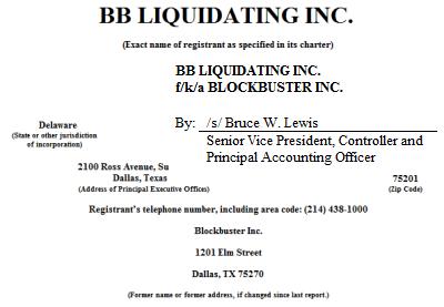 BB Liquidating (Blockbuster) filings